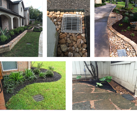 Houston tx landscape retaining walls houston tx drainage for Yard drainage basin